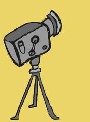 cartoon retro cinema projector, color  illustration