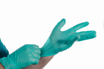 Hands with surgical gloves