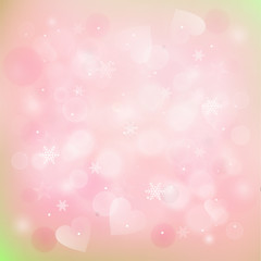 blurred winter background with hearts and snowflakes