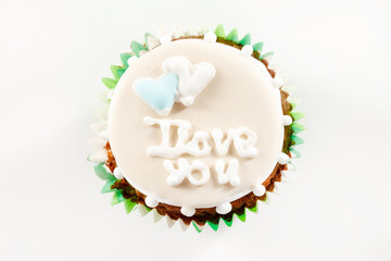 Frosted Cupcake with I Love You Written