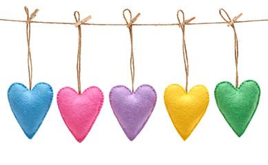 Valentines Day. Hearts Handmade set. Love concept.