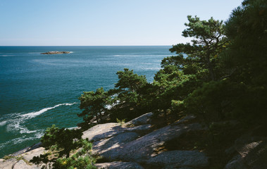 Cliffs and view of the Atlantic Ocean in Acadia National Park, M