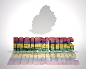 Word Mauritius on a map background