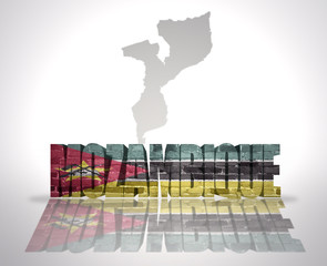 Word Mozambique on a map background