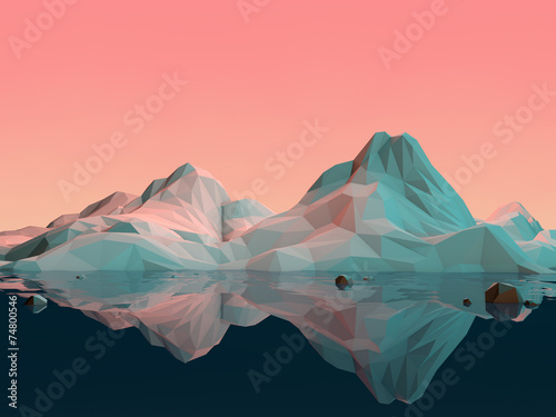 canvas print picture Low-Poly 3D Mountain Landscape with Water and Reflection