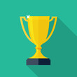 Trophy Cup Flat Icon with Long Shadow - 74800929