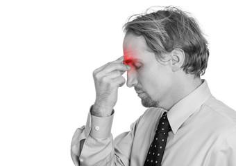 man having suffering from headache hand on head sinus pressure