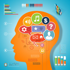 Brain idea infographic design media communication