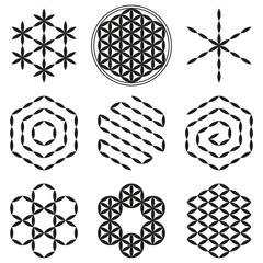 Eight extracted patterns from the Flower of Life