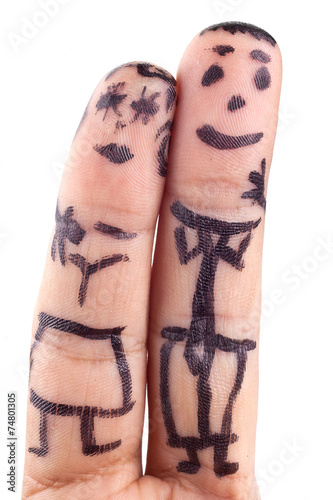 canvas print picture Smileys painted on man's fingers.