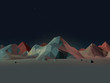 Low-Poly Mountain Landscape at Night with Stars - 74801523