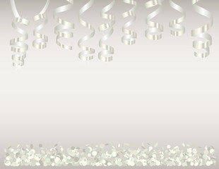 Background with white confetti and serpentine