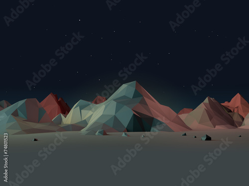 Fototapeta Low-Poly Mountain Landscape at Night with Stars