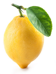 Lemon with leaf.