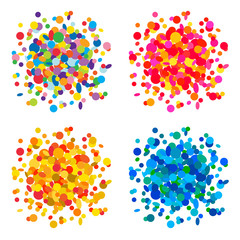 Set of colorful confetti backgrounds