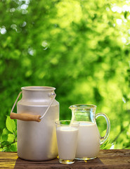 Fresh organic milk. Nature background.