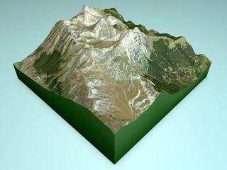 Gran Sasso, sezione montagna, spaccato 3d