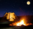 Night camping in the mountains. - 74803112