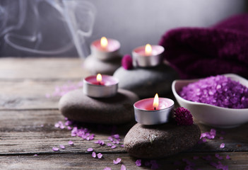 Composition of spa treatment on table on grey background