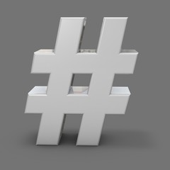3d shiny metal hash tah, grey background, social media