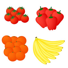 fresh vegetable and fruit vector