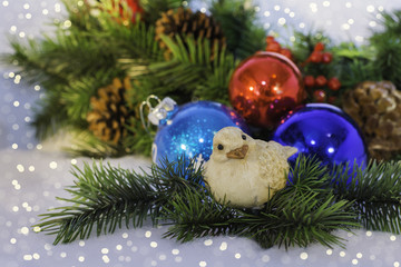 Christmas Ornaments and Bird