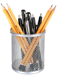 Pens and sharp pencils in metal vase isolated