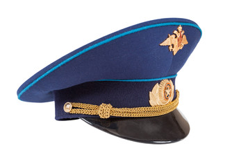 Military officer cap of russian air force isolated on white