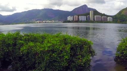 View of Rodrigo de Freitas Lagoon in Rio de Janeiro. Brazil