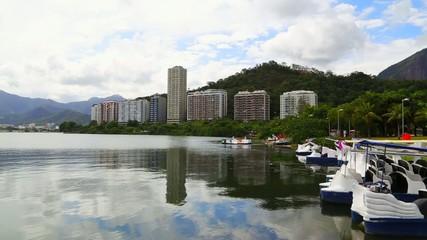 View of Rodrigo de Freitas Lagoon in Rio de Janeiro, Brazil
