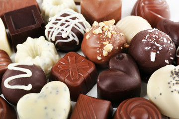 Delicious chocolate candies close-up