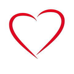 rotes Valentins Herz auf weißem Hintergrund