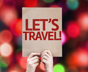 Let's Travel! card with colorful background