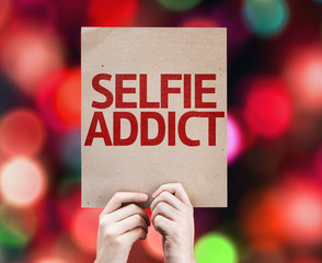Selfie Addict card with colorful background