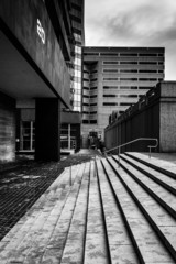 Highrises and stairs at Hopkins Plaza in downtown Baltimore, Mar
