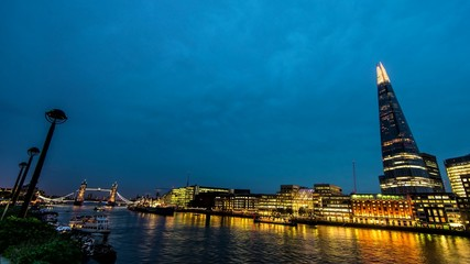 timelapse of tower bridge and the shard in London England
