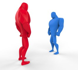 Red and blue 3D Strongmen in a stand off - perpective view.