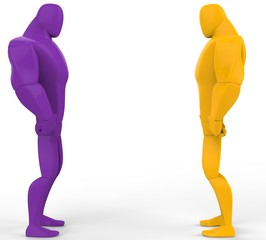 Purple and yellow 3D Strongmen in a stand off.