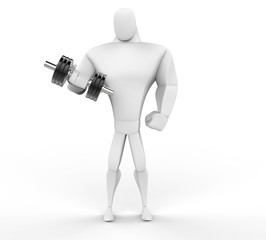 3D Strong Character lifting a dumbell weight isolated on white.