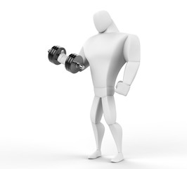 3D Character lifting a dumbell - isolated on white background.