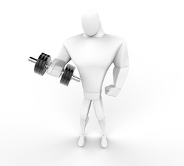 3D Character lifting a dumbell -  top view.