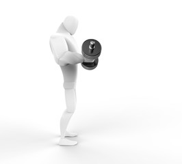 3D Character lifting a dumbell - right side view.