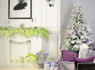 Holiday decorated room with Christmas tree