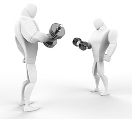 Two 3D Characters weightlifting, isolated on white background.