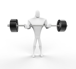 Strong 3D Character Weightlifting - front view.