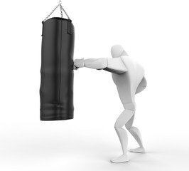 3D Boxer Training on black punching bag