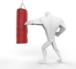 3D Boxer Training on red heavy bag