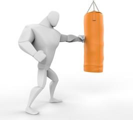 3D Boxer Training on yellow  punching bag.
