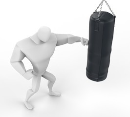 3D Boxer Training on heavy bag - top view.