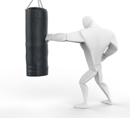 3D Boxer Training on heavy bag - side view.